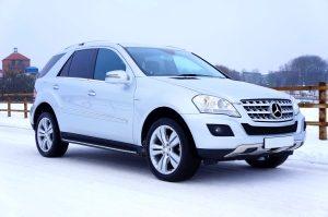 Mercedes parked on snow